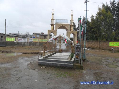 حیاط حسینیه ی باب الحوائج روستای لله مرز